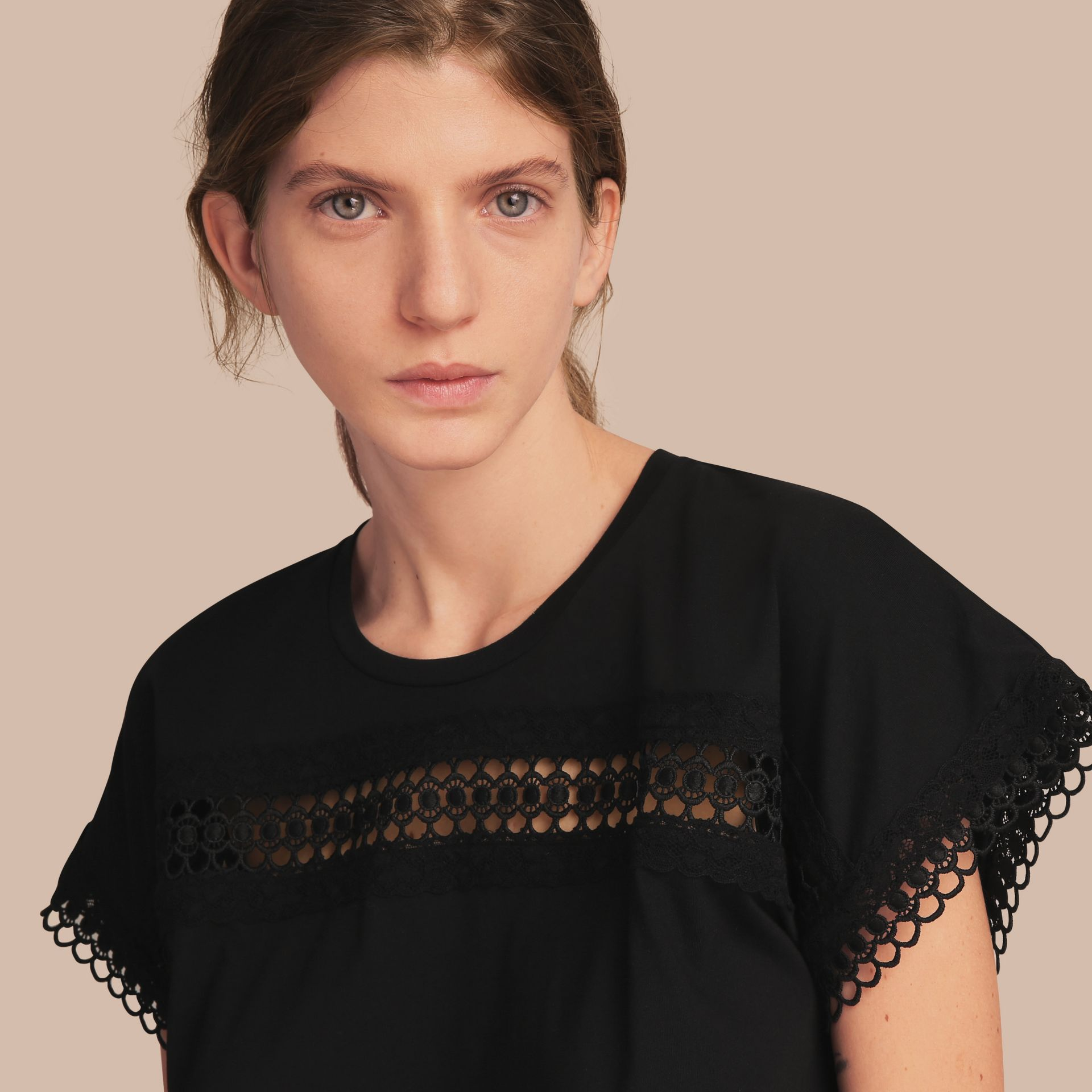 Lace Detail Cotton T-shirt Black - gallery image 5
