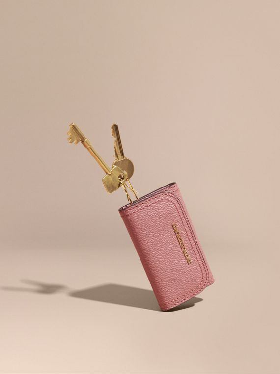 Grainy Leather Key Holder Dusty Pink