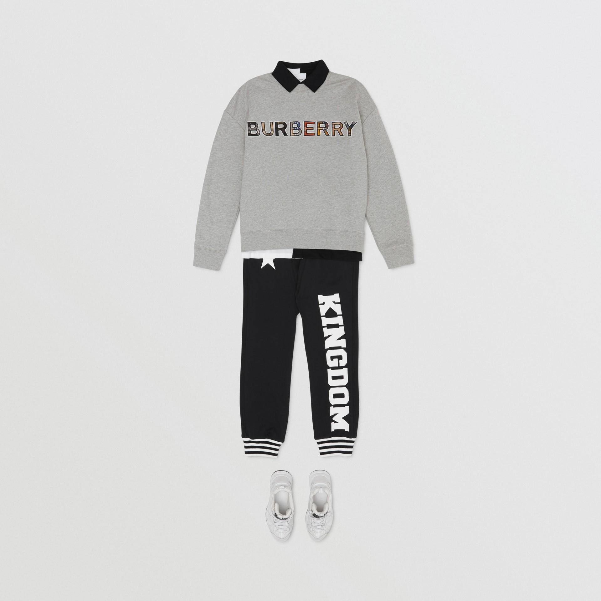 Check Logo Cotton Sweatshirt in Grey Melange | Burberry - gallery image 3