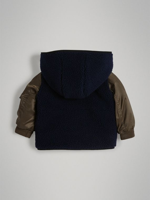 Faux Shearling Panelled Hooded Jacket in Navy | Burberry - cell image 3
