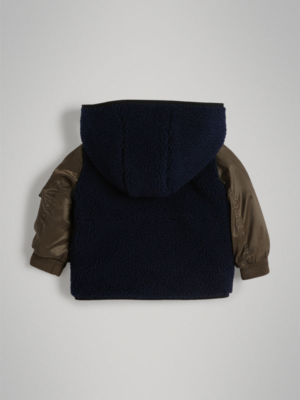 Faux Shearling Panelled Hooded Jacket in Navy - Children | Burberry - cell image 3