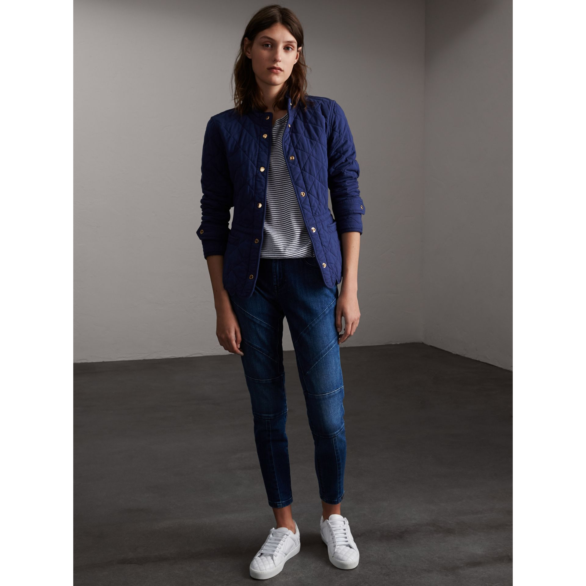 Scalloped Diamond Quilted Cotton Jacket in Indigo - Women | Burberry Canada - gallery image 1
