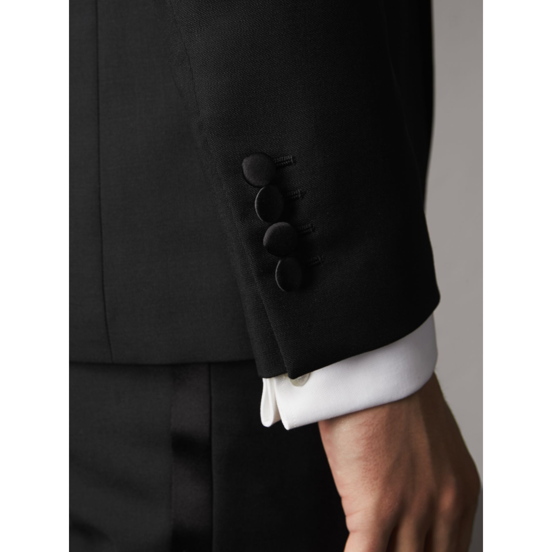 Slim Fit Wool Mohair Half-canvas Tuxedo in Black - Men | Burberry United Kingdom - gallery image 4