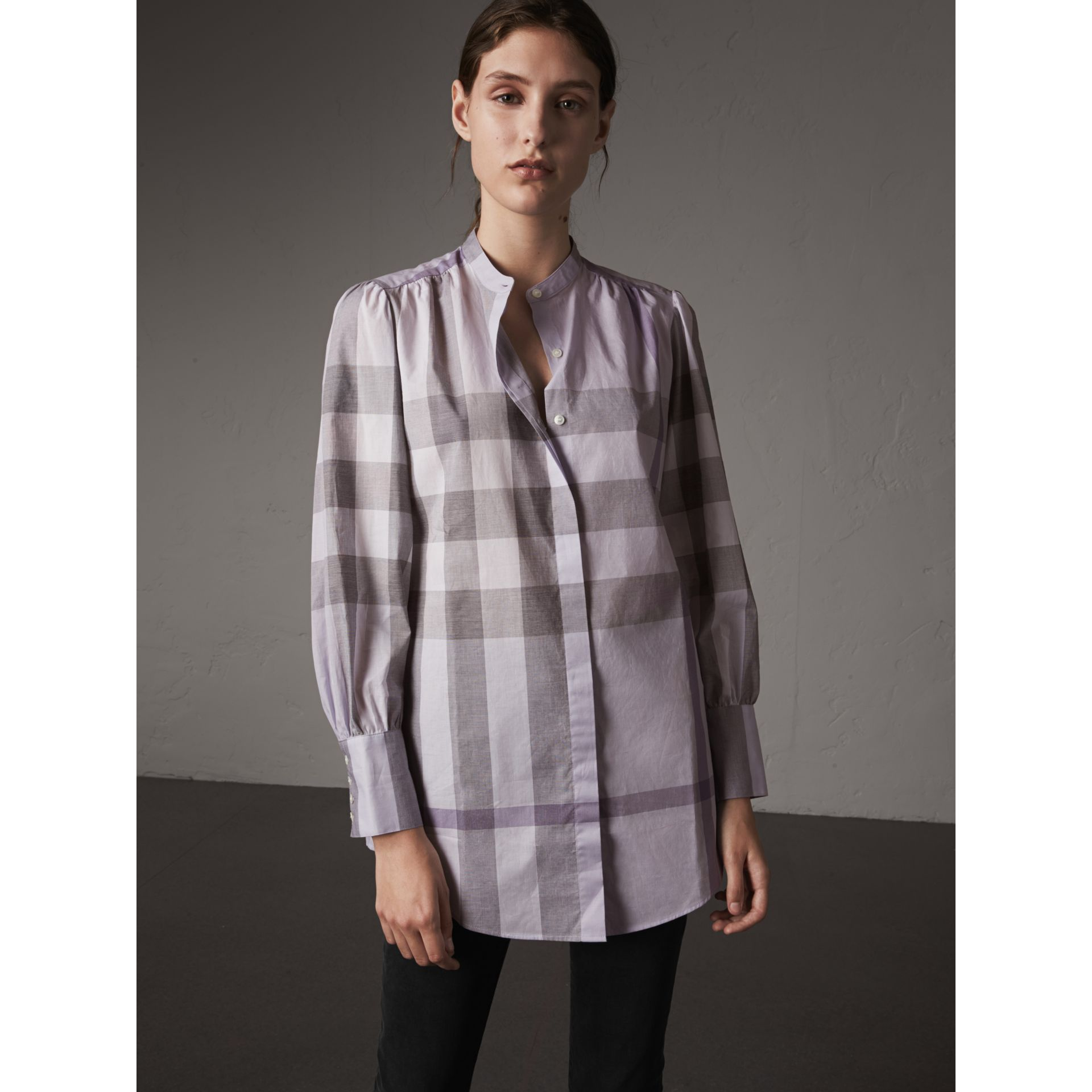 Grandad Collar Check Cotton Tunic Shirt in Pale Wisteria - Women | Burberry - gallery image 5