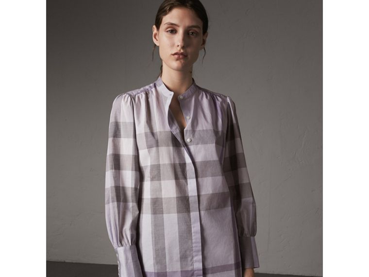 Grandad Collar Check Cotton Tunic Shirt in Pale Wisteria - Women | Burberry - cell image 4
