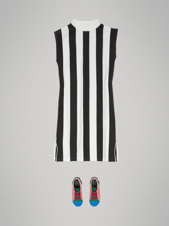 Striped Cotton Turtleneck Dress in Black - Girl | Burberry - cell image 2