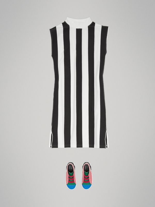 Striped Cotton Turtleneck Dress in Black | Burberry Australia - cell image 2
