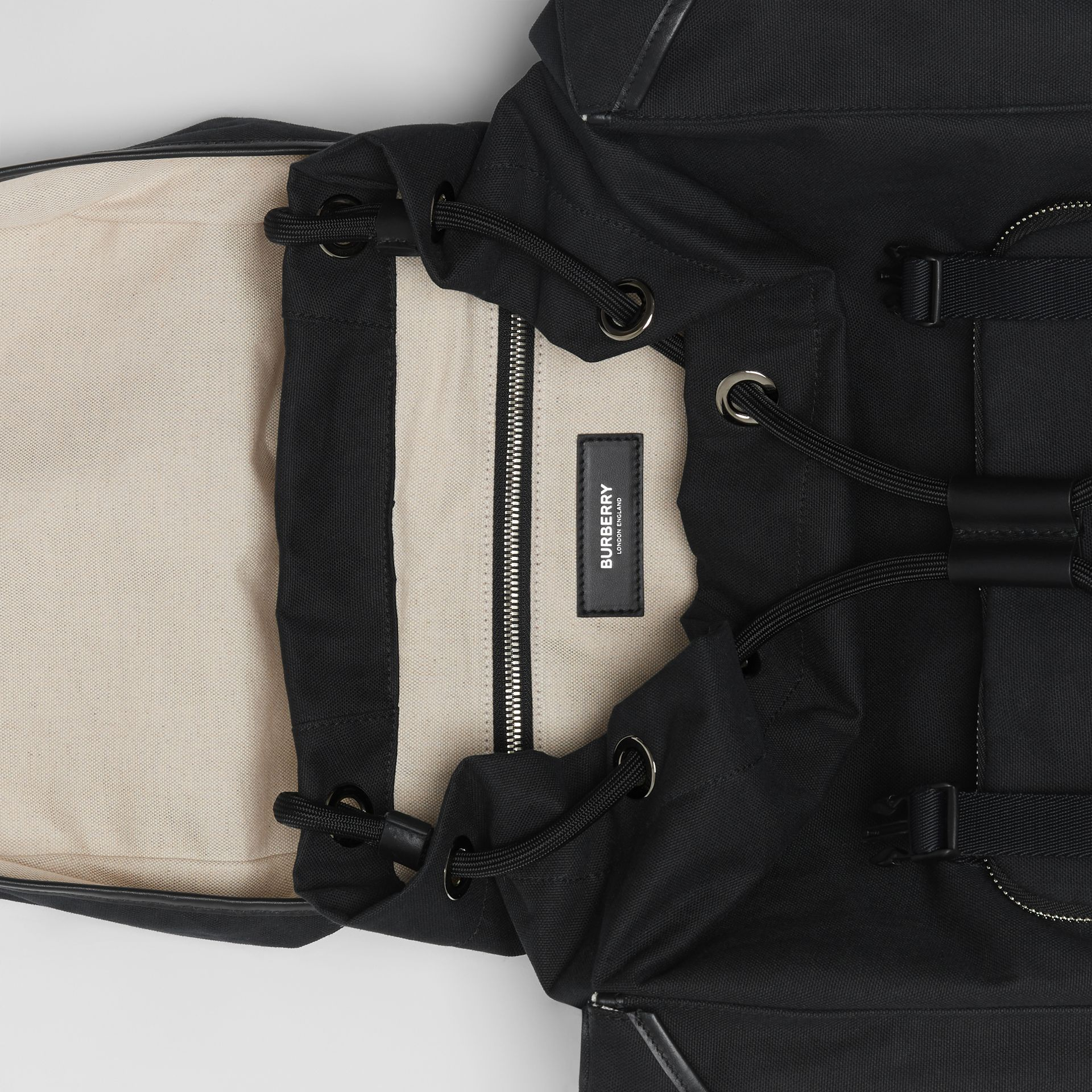 Medium Logo Detail Cotton Blend Backpack in Black - Men | Burberry - gallery image 3