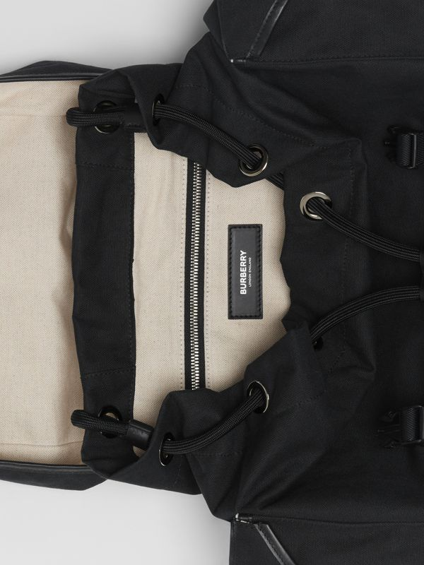Medium Logo Detail Cotton Blend Backpack in Black - Men | Burberry - cell image 3