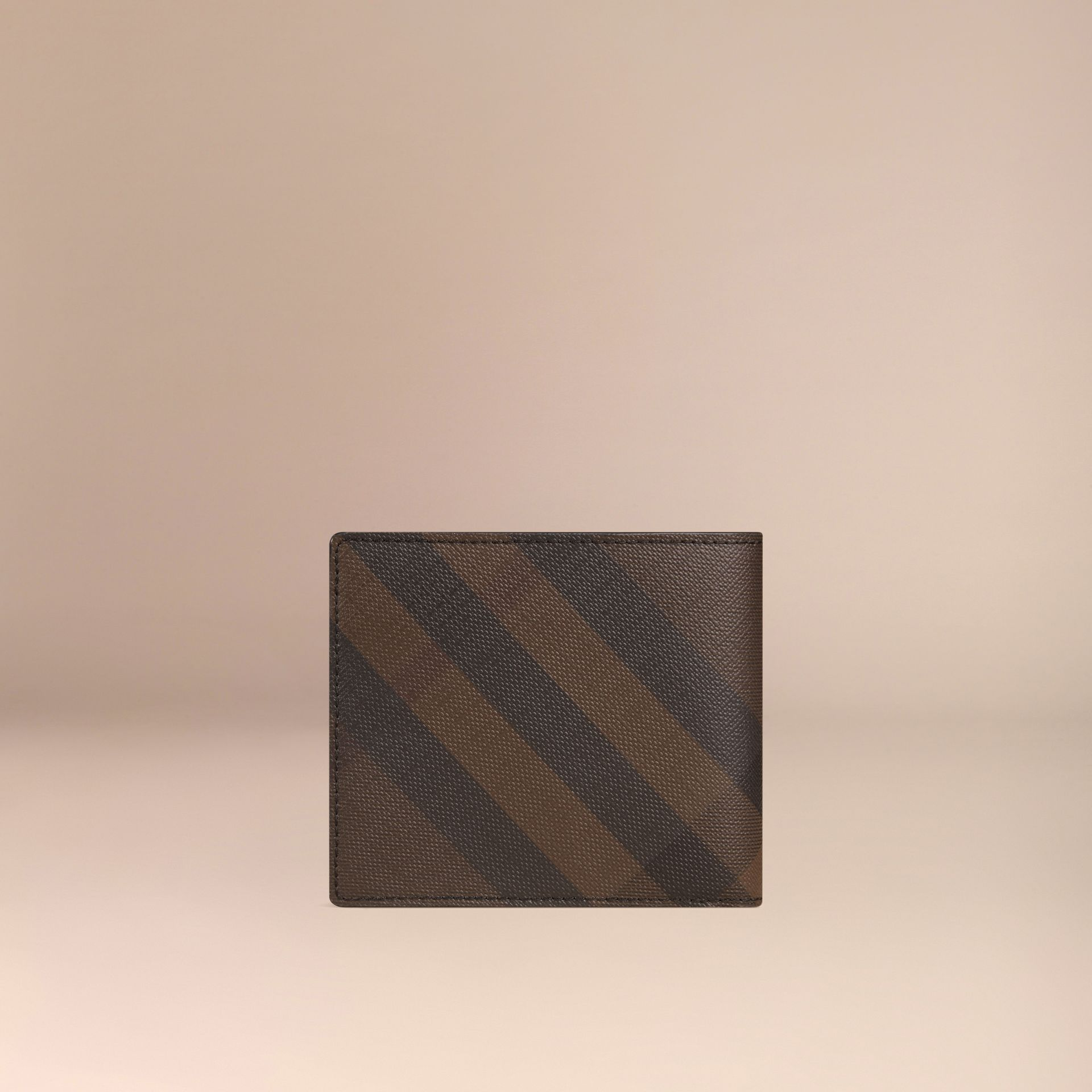 London Check ID Wallet in Chocolate/black - gallery image 3