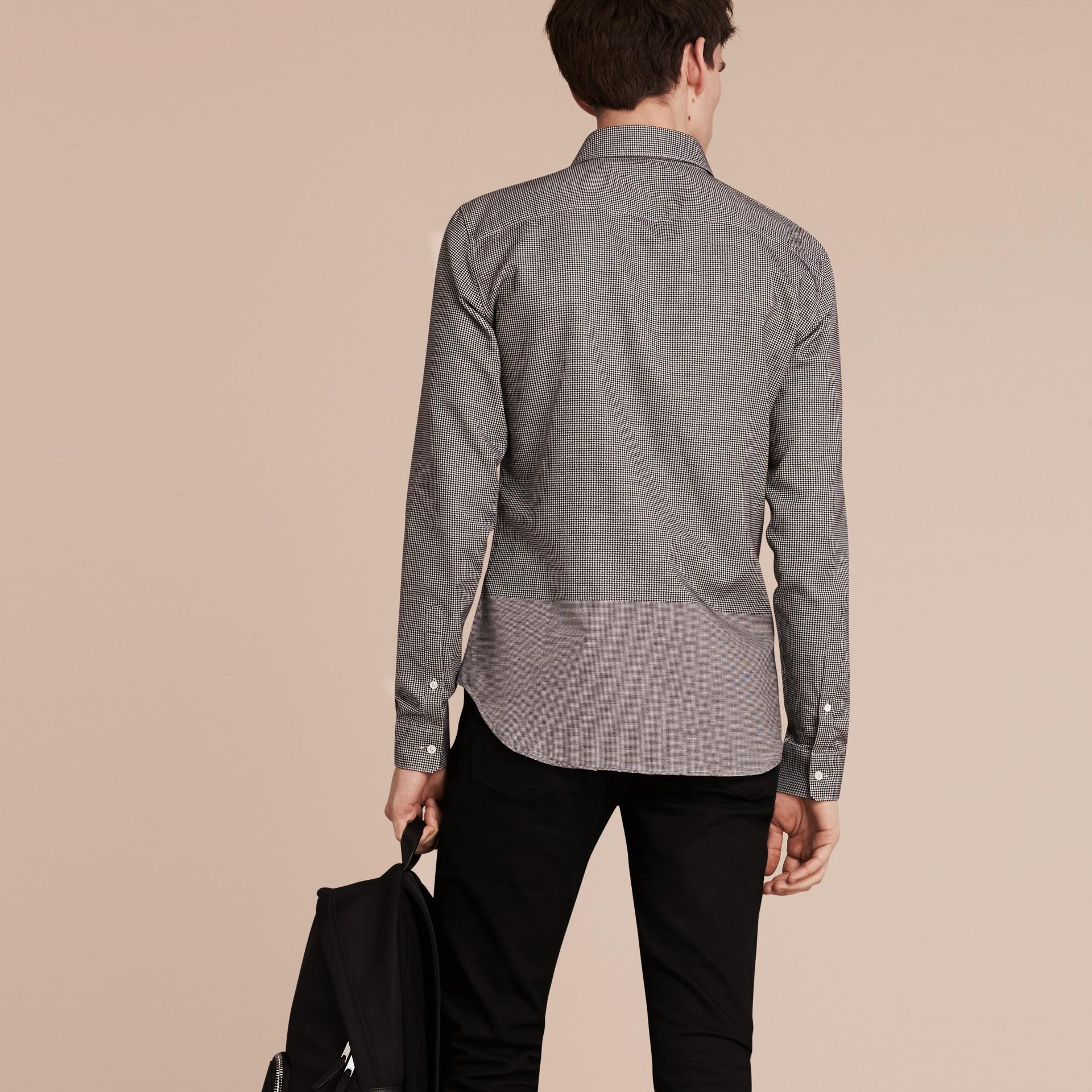 Schwarz Hemd aus Baumwolle mit kleinem Hahnentrittmuster - Galerie-Bild 3