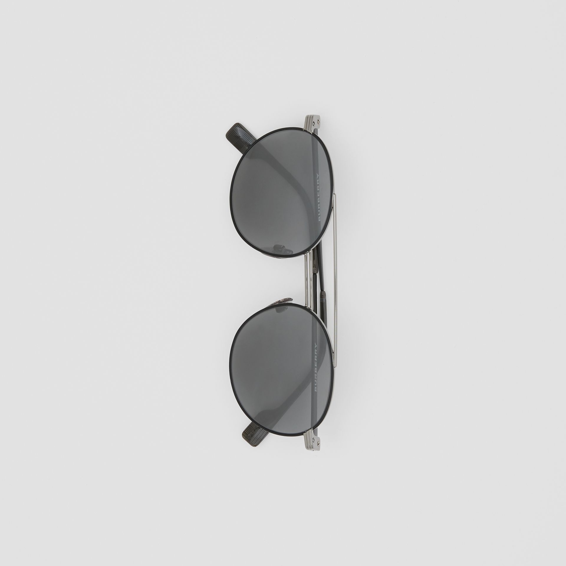 Top Bar Detail Round Frame Sunglasses in Gunmetal/dark Green - Men | Burberry - gallery image 3