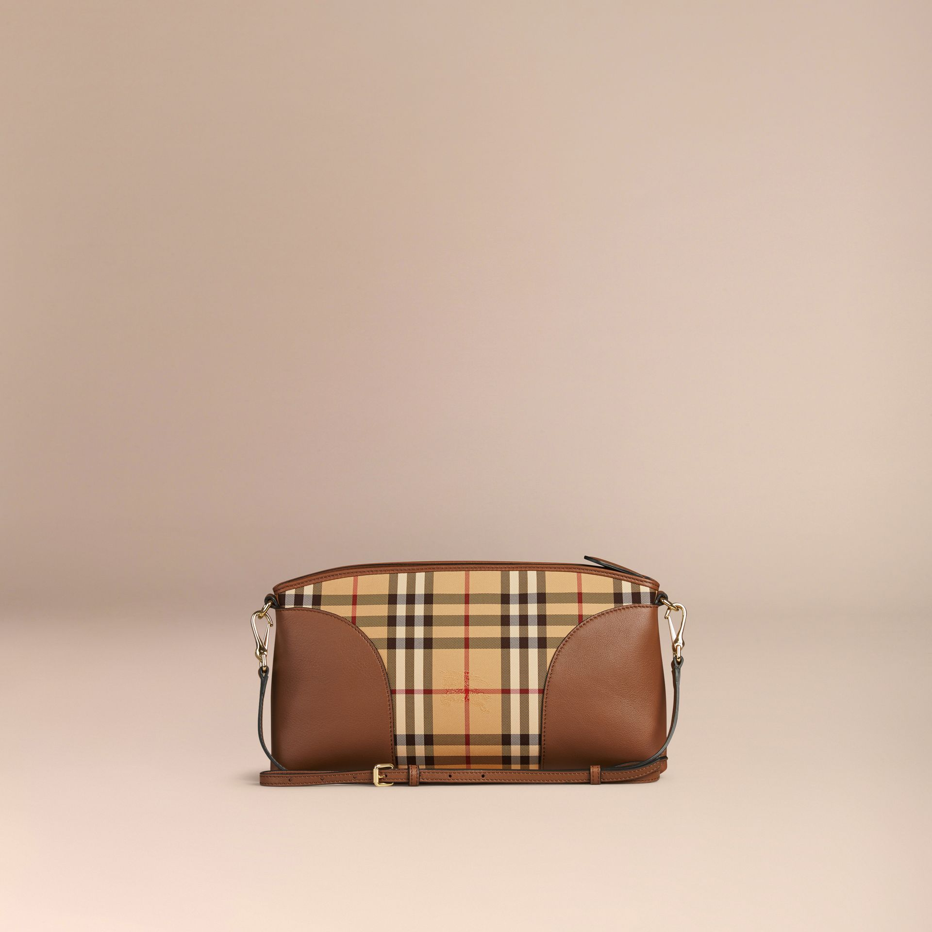 Honey/tan Horseferry Check and Leather Clutch Bag Honey/tan - gallery image 3