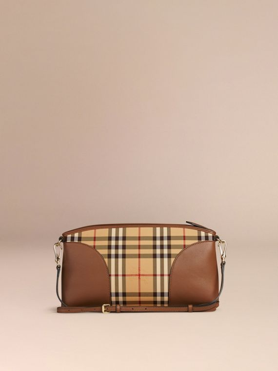 Honey/tan Horseferry Check and Leather Clutch Bag Honey/tan - cell image 2