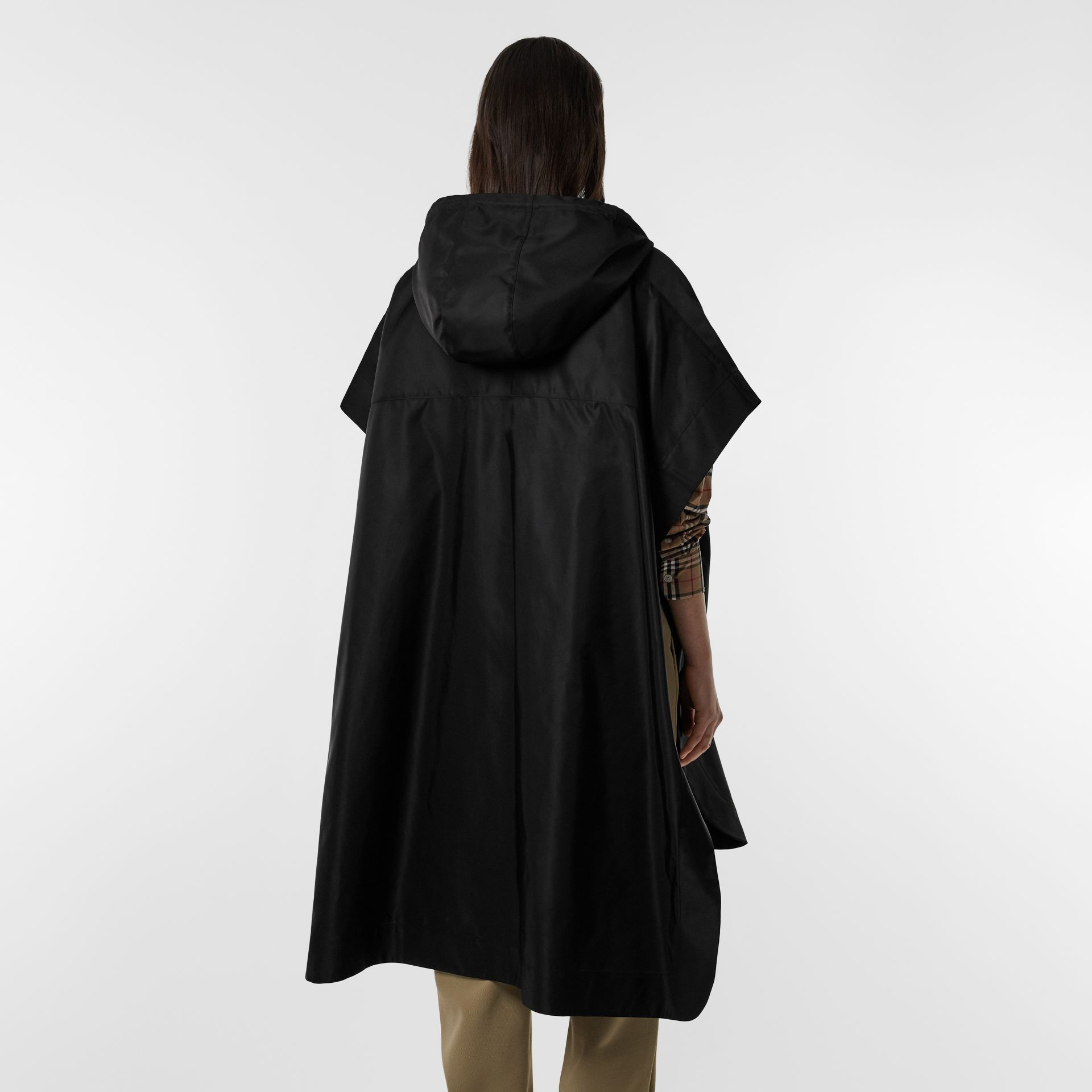Monogram Motif Nylon Oversized Hooded Poncho in Black | Burberry - gallery image 12