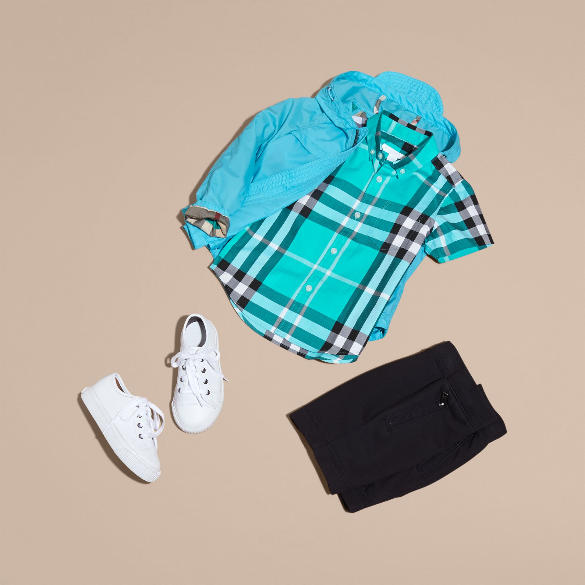 Short-sleeve Check Cotton Twill Shirt in Cyan Green - Boy | Burberry - gallery image 5