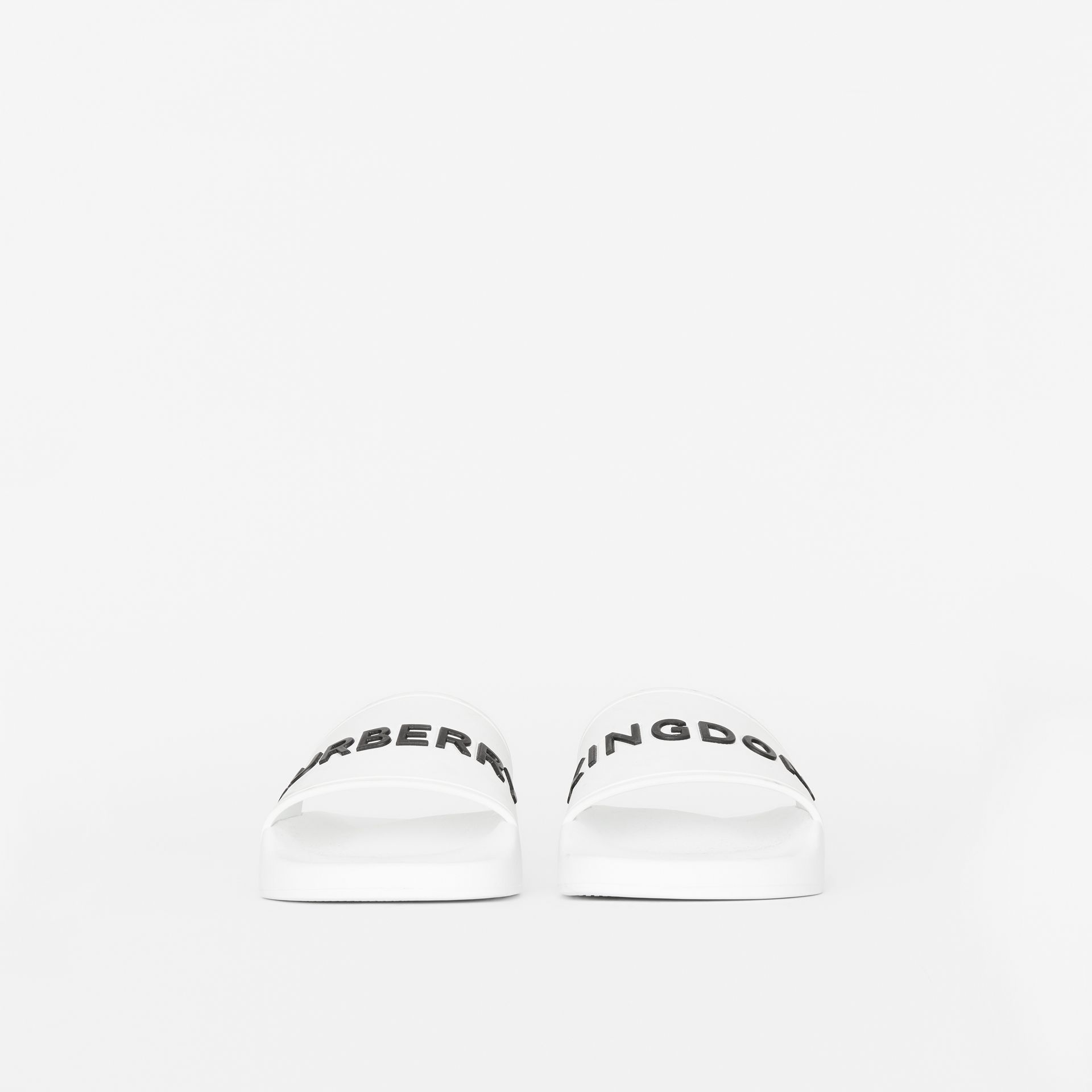 Kingdom Motif Slides in Optic White - Women | Burberry Singapore - gallery image 2