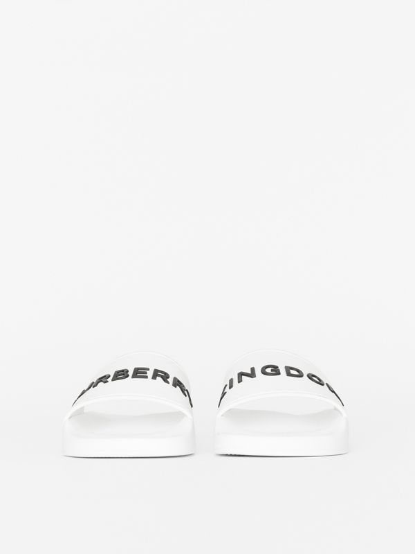 Kingdom Print Slides in Optic White - Women | Burberry - cell image 2