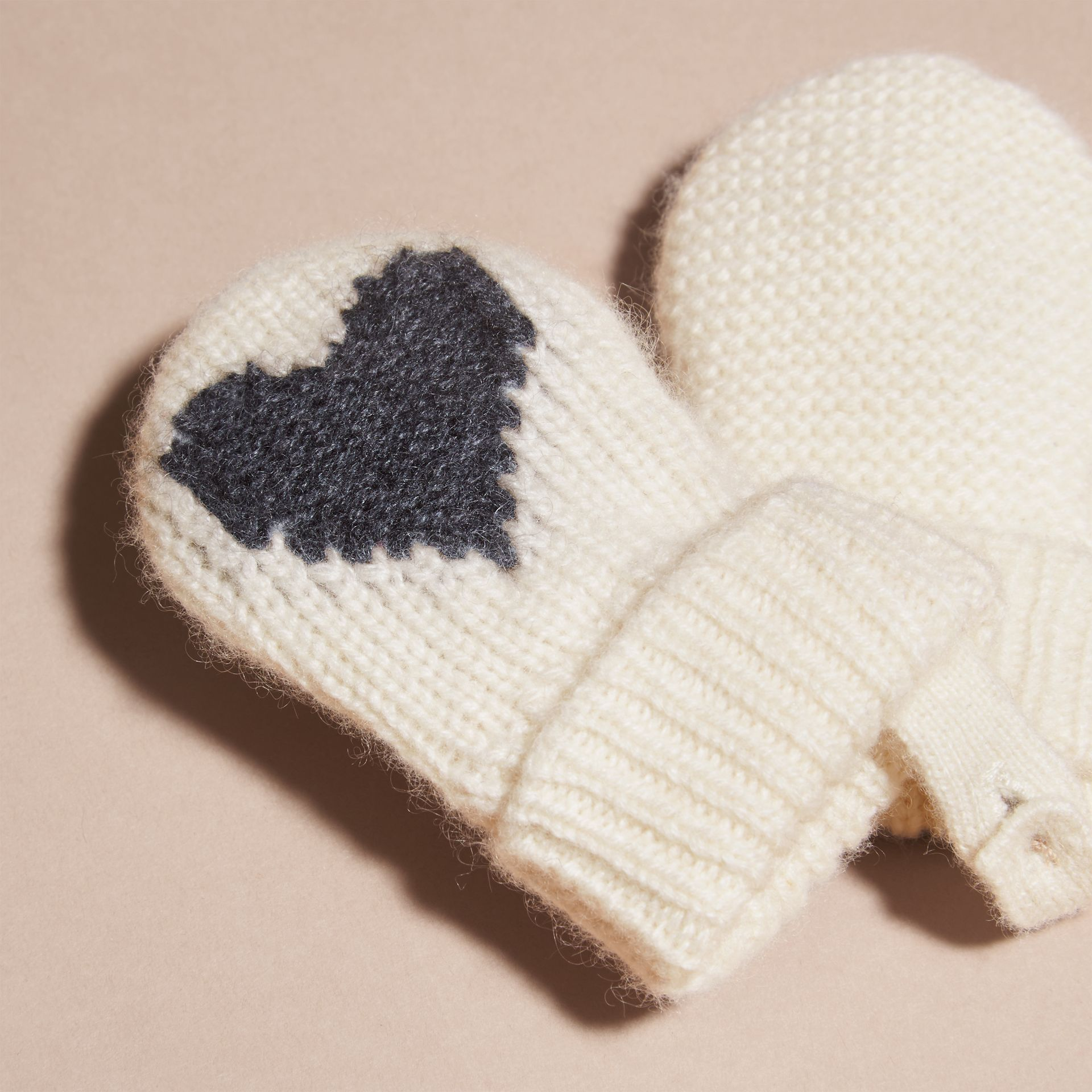 Charcoal Heart Intarsia Cashmere Mittens Charcoal - gallery image 3