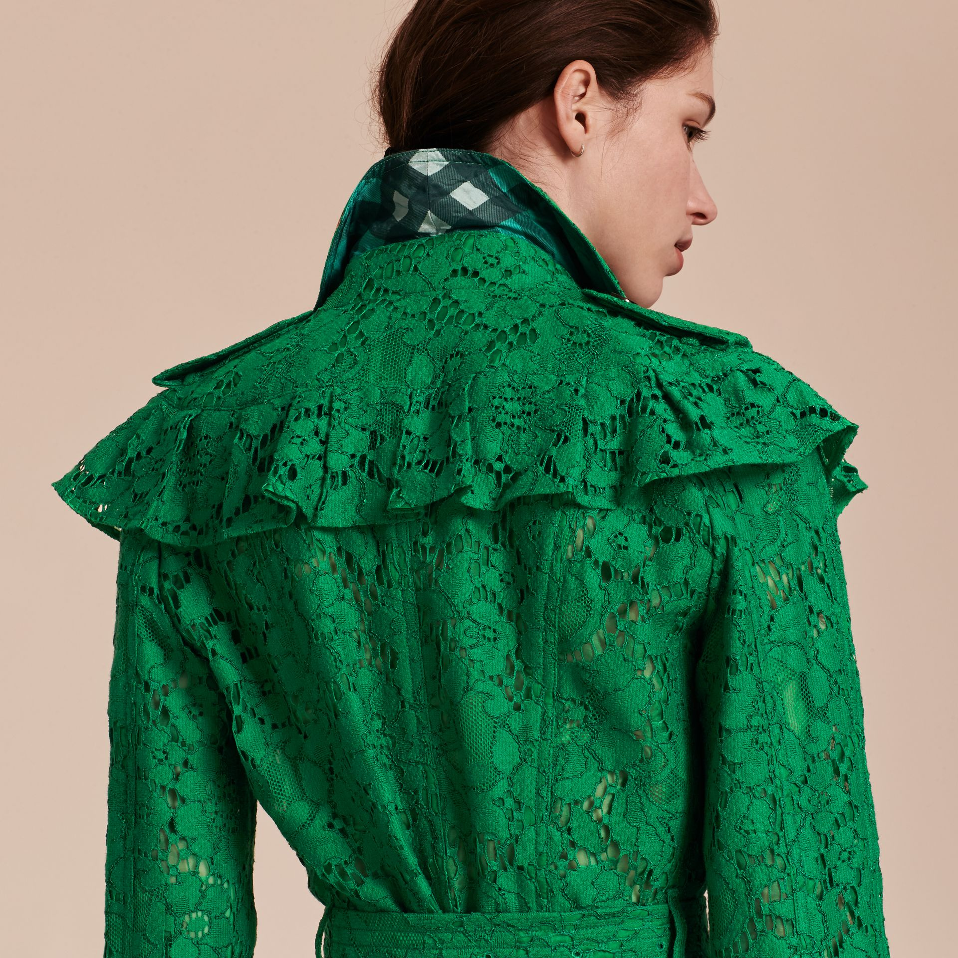 Ruffle Detail Macramé Lace Trench Coat Kelly Green - gallery image 5