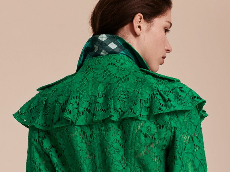 Ruffle Detail Macramé Lace Trench Coat Kelly Green - cell image 4