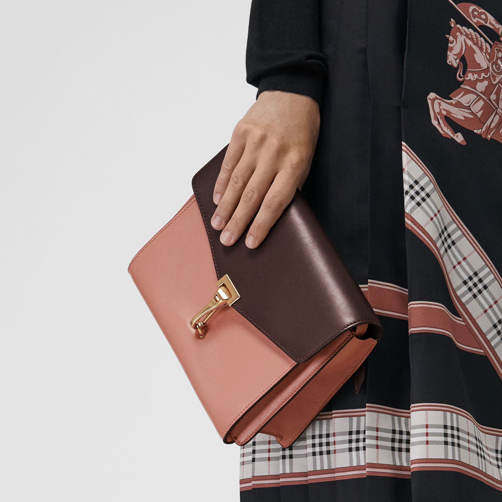 Two-tone Leather Crossbody Bag in Dusty Rose/deep Claret - Women | Burberry United Kingdom - gallery image 3