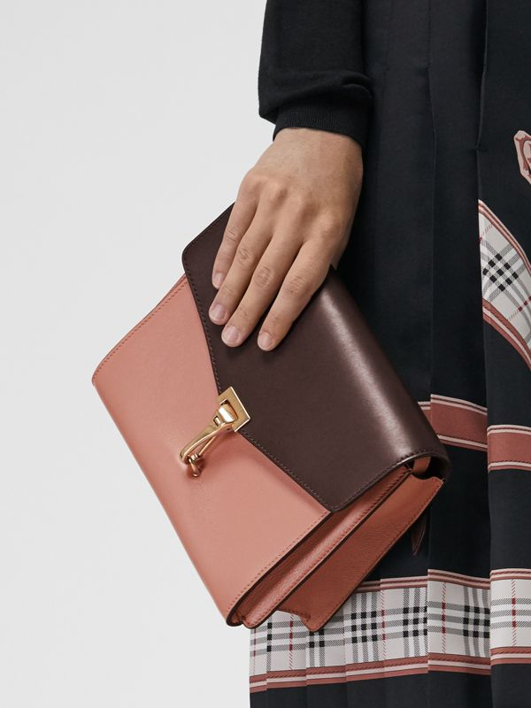 Two-tone Leather Crossbody Bag in Dusty Rose/deep Claret - Women | Burberry - cell image 3
