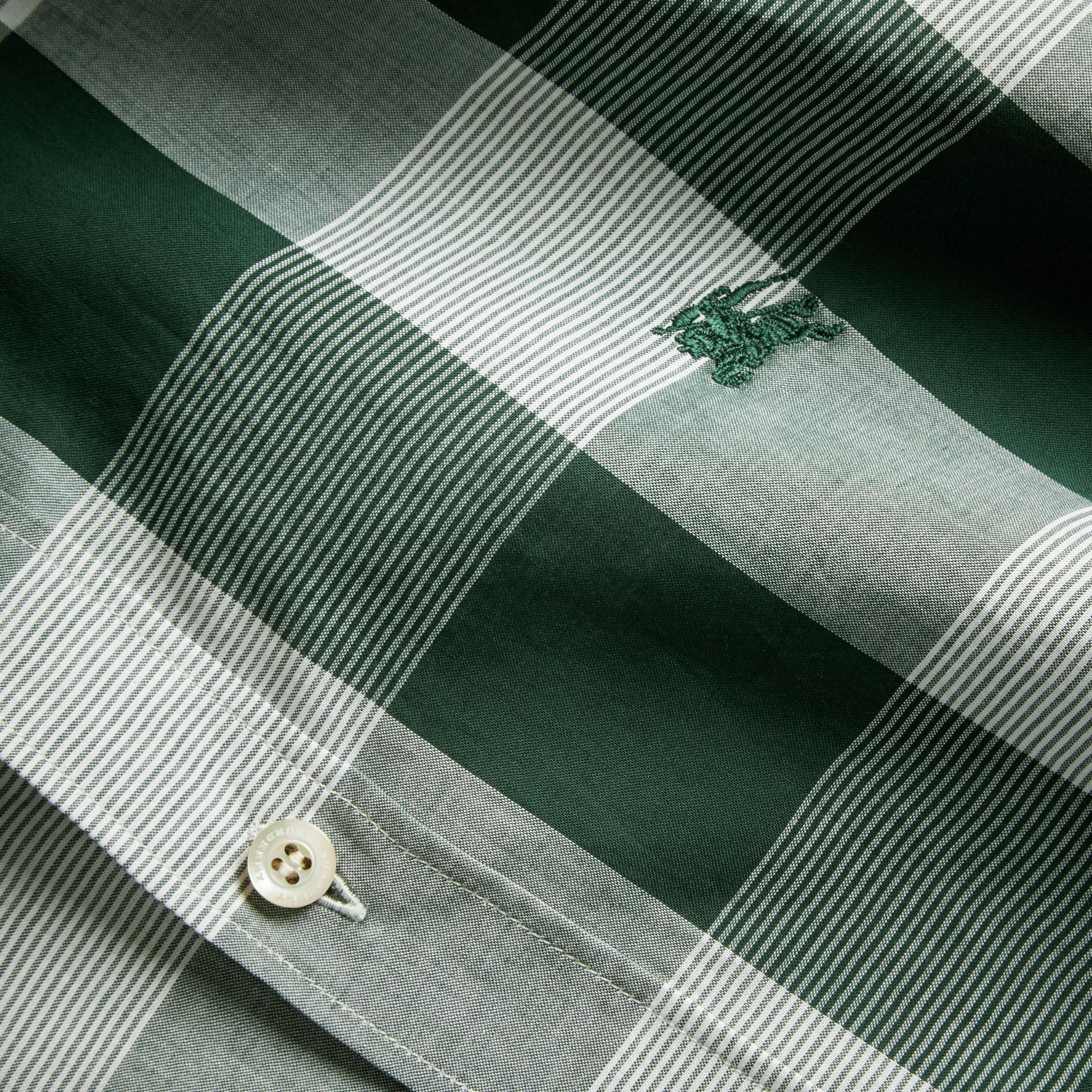 Short-sleeved Tonal Check Cotton Shirt Dark Bottle Green - gallery image 2