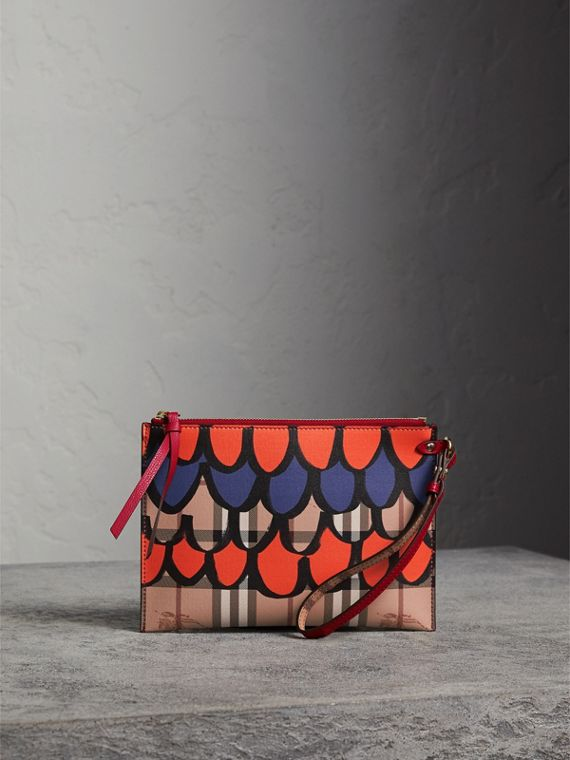 Scallop Print Haymarket Check and Leather Pouch in Poppy Red