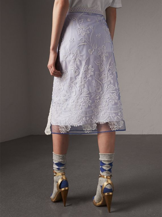 Floral-embroidered Tulle Skirt in Hydrangea Blue/white - Women | Burberry Singapore - cell image 2