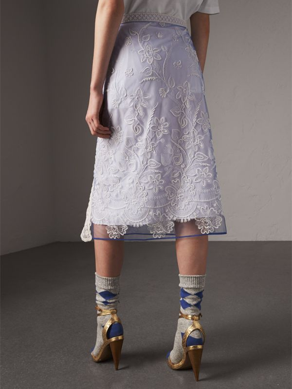 Floral-embroidered Tulle Skirt in Hydrangea Blue/white - Women | Burberry - cell image 2
