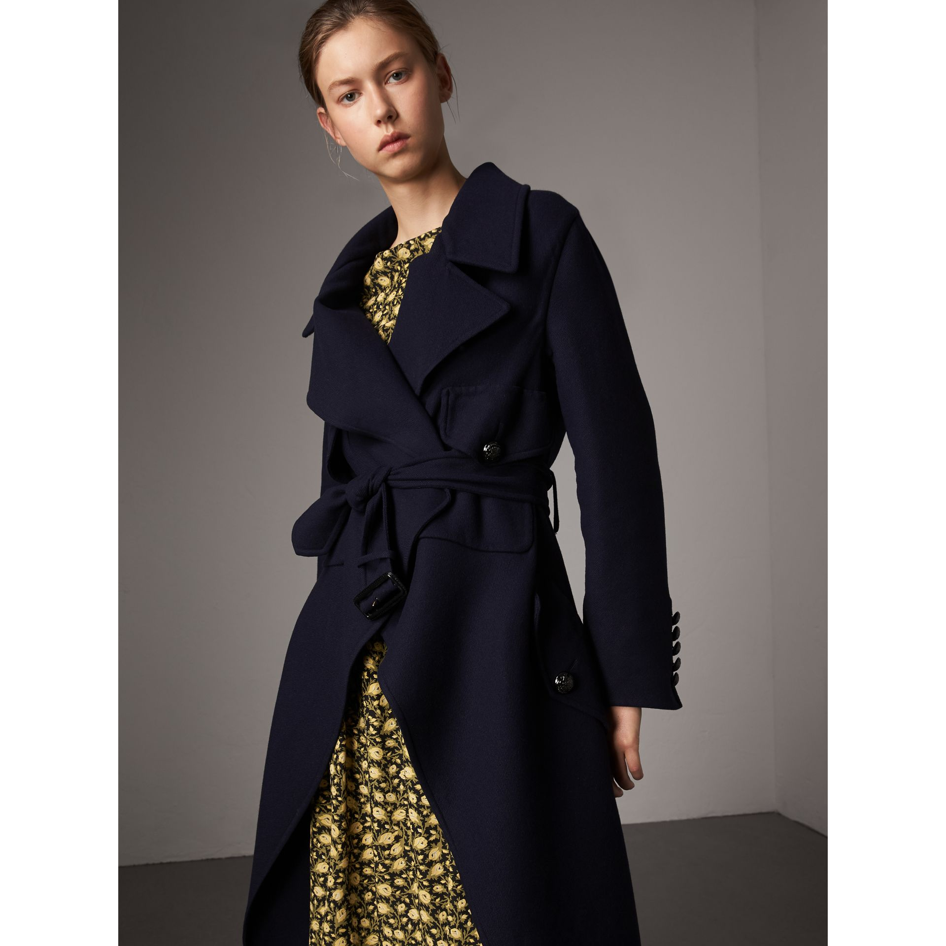 Double-faced Wool Cashmere Wrap Coat in Navy - Women | Burberry Australia - gallery image 1