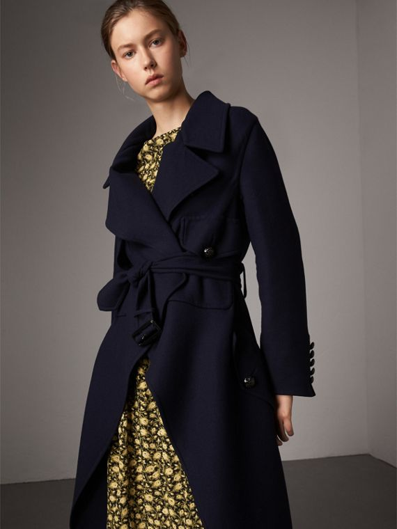 Double-faced Wool Cashmere Wrap Coat in Navy