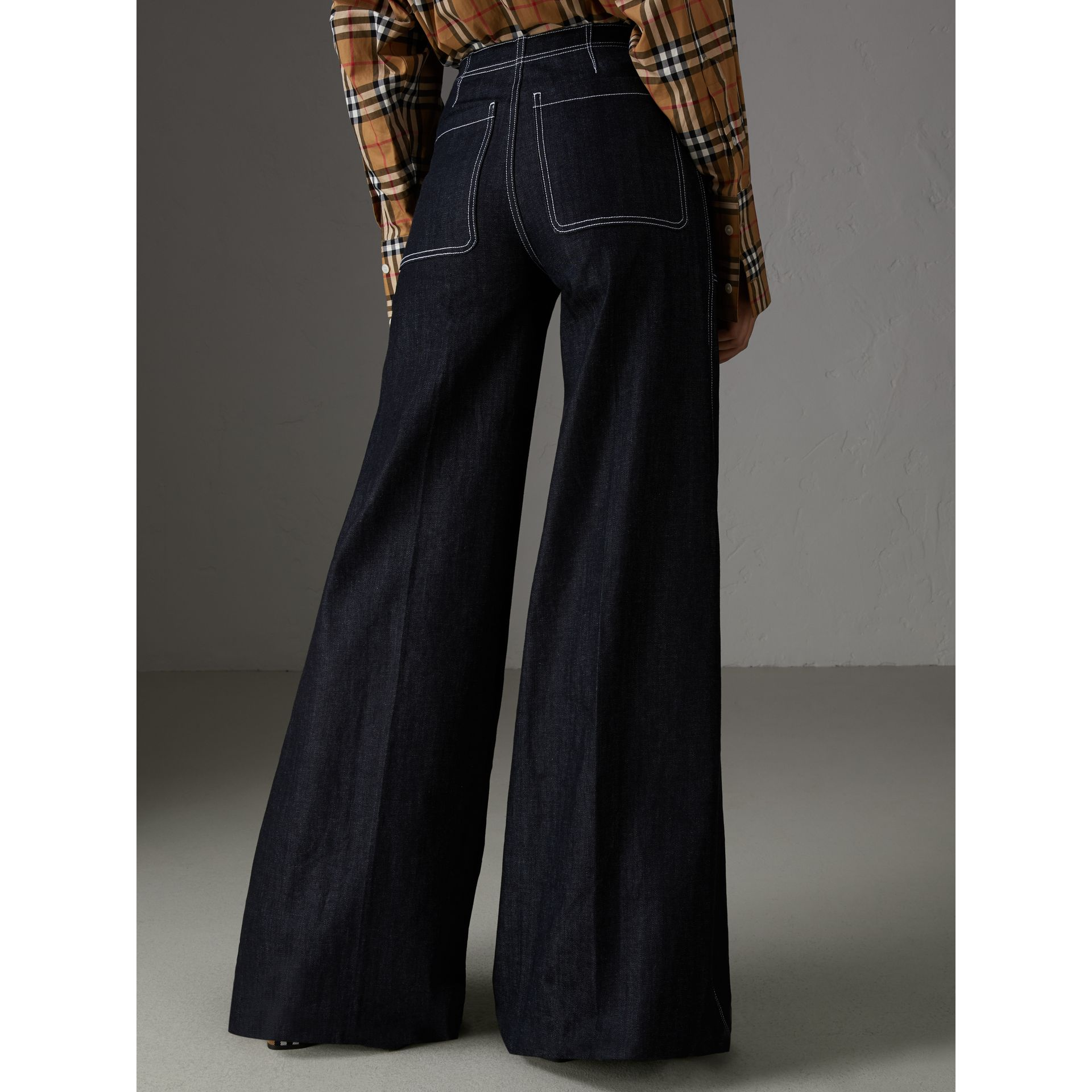 Stretch Japanese Denim Wide-leg Jeans in Steel Blue - Women | Burberry - gallery image 2