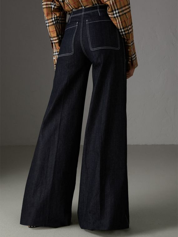 Stretch Japanese Denim Wide-leg Jeans in Steel Blue - Women | Burberry - cell image 2