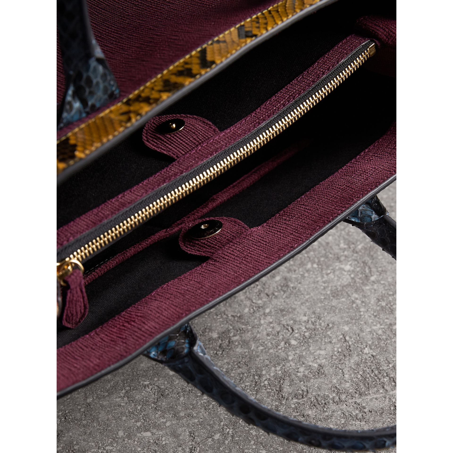 The Medium Banner in Leather, Python and House Check in Elderberry - gallery image 6