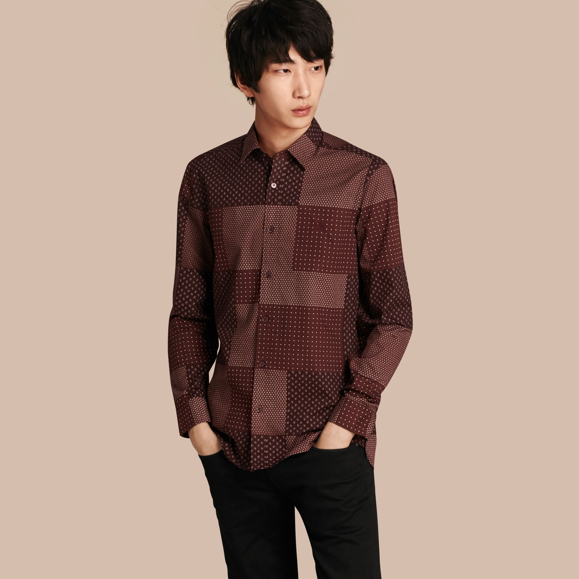 Dark elderberry Patchwork Print Cotton Shirt Dark Elderberry - gallery image 1