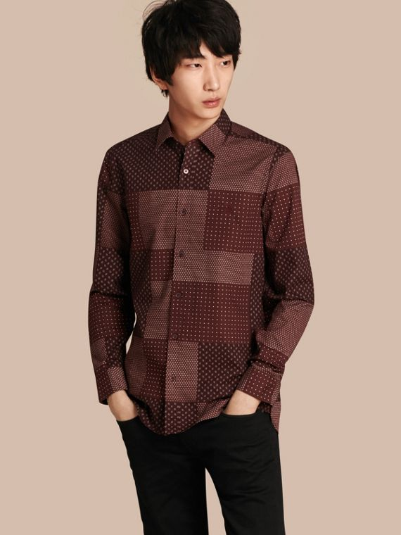Patchwork Print Cotton Shirt Dark Elderberry