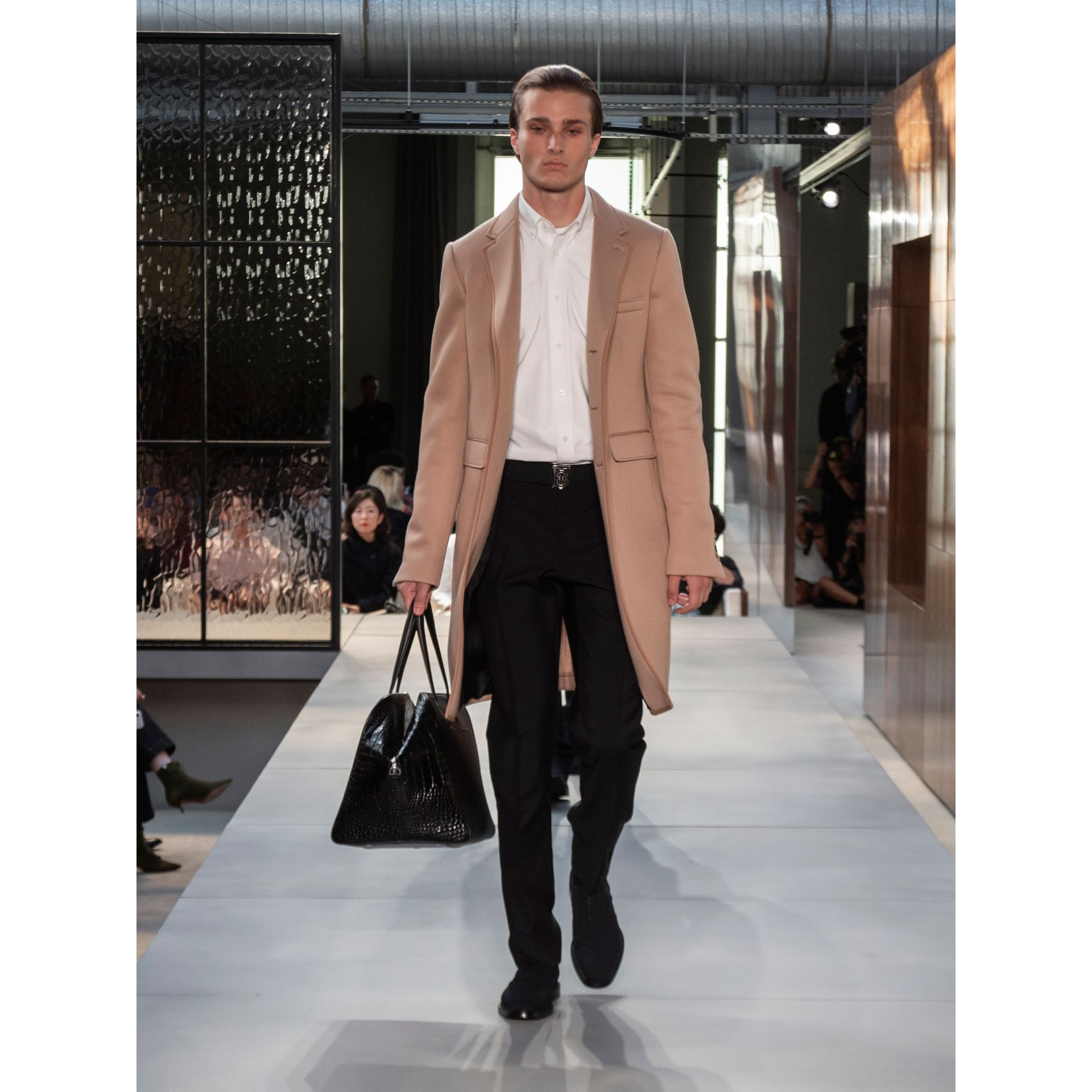 Neoprene Tailored Coat in Beige | Burberry - gallery image 8