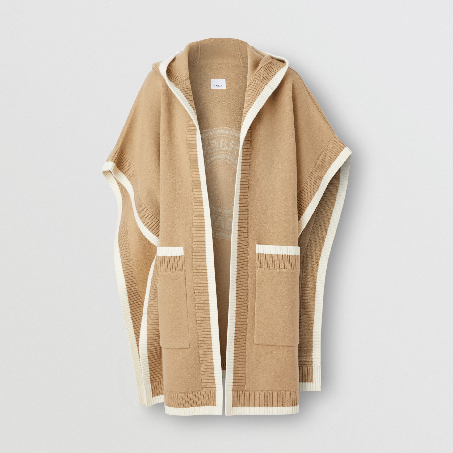 Logo Graphic Wool Cashmere Jacquard Hooded Cape in Archive Beige - Women | Burberry United Kingdom - gallery image 3