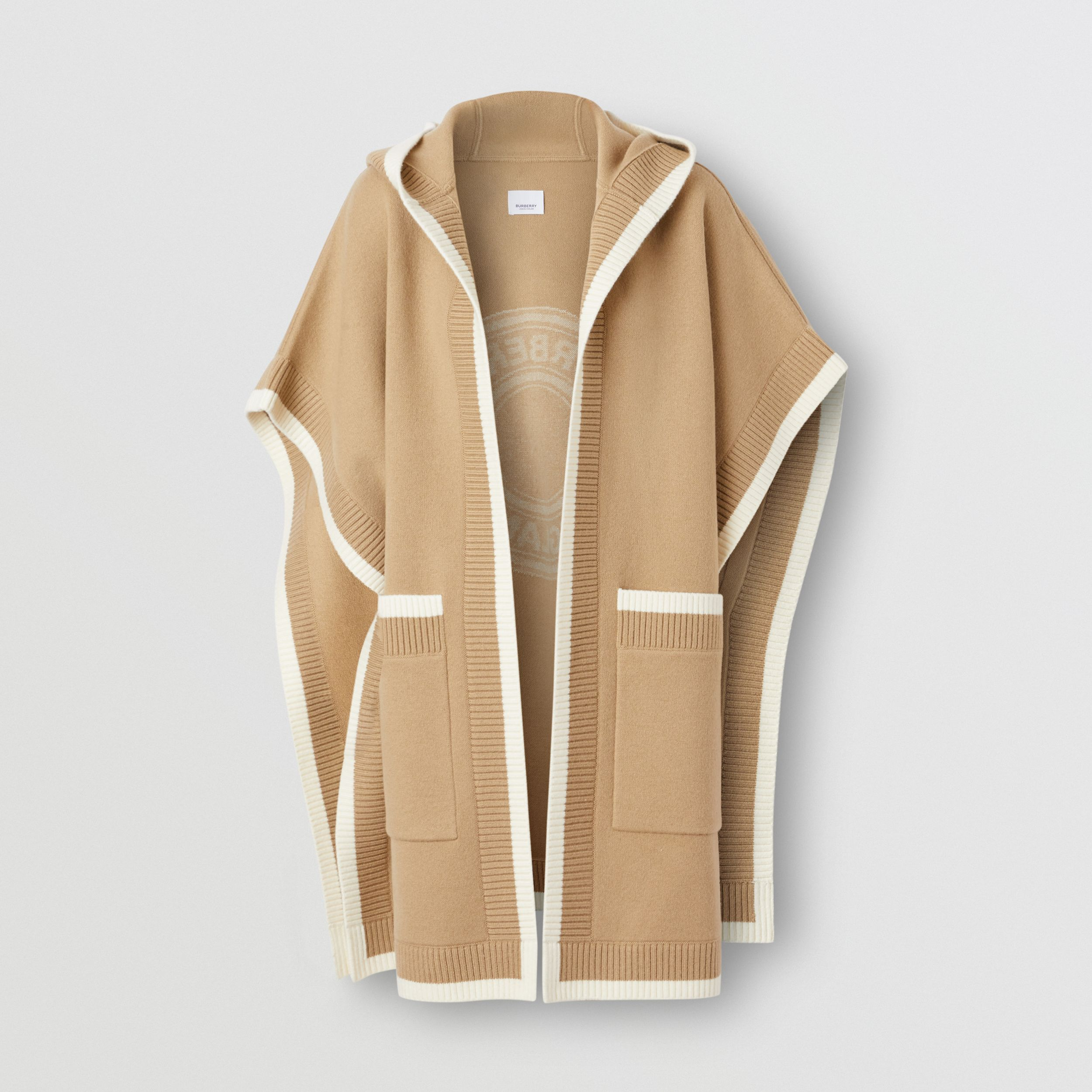 Logo Graphic Wool Cashmere Jacquard Hooded Cape in Archive Beige - Women | Burberry United Kingdom - 4