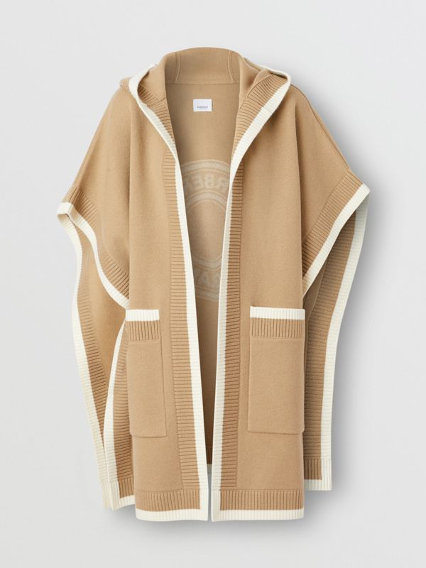 Logo Graphic Wool Cashmere Jacquard Hooded Cape in Archive Beige - Women | Burberry United States - cell image 3