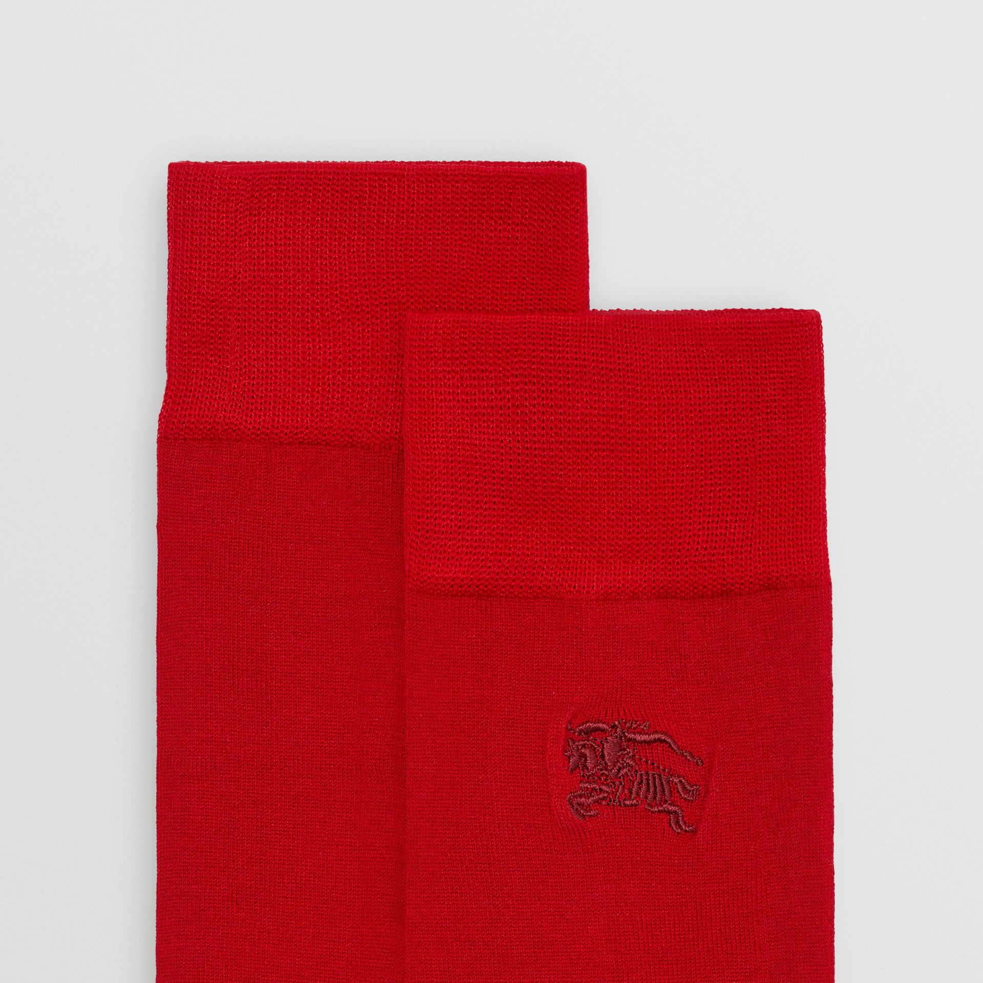Embroidered EKD Cotton Blend Socks in Bright Red | Burberry - gallery image 1