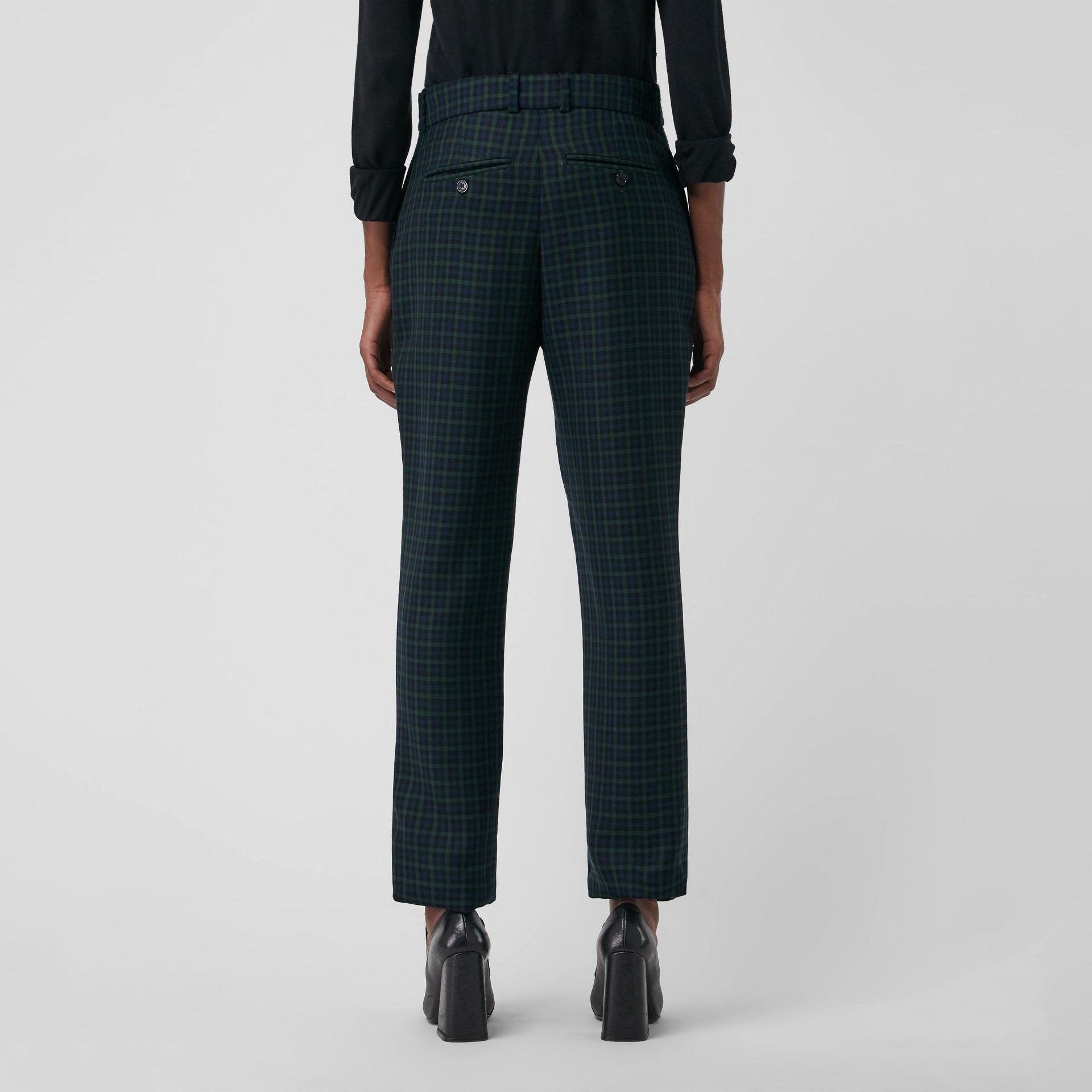 Straight Fit Check Wool Blend Tailored Trousers in Navy - Women | Burberry - gallery image 2