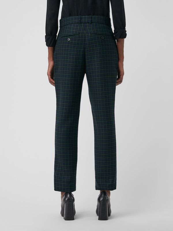 Straight Fit Check Wool Blend Tailored Trousers in Navy - Women | Burberry - cell image 2