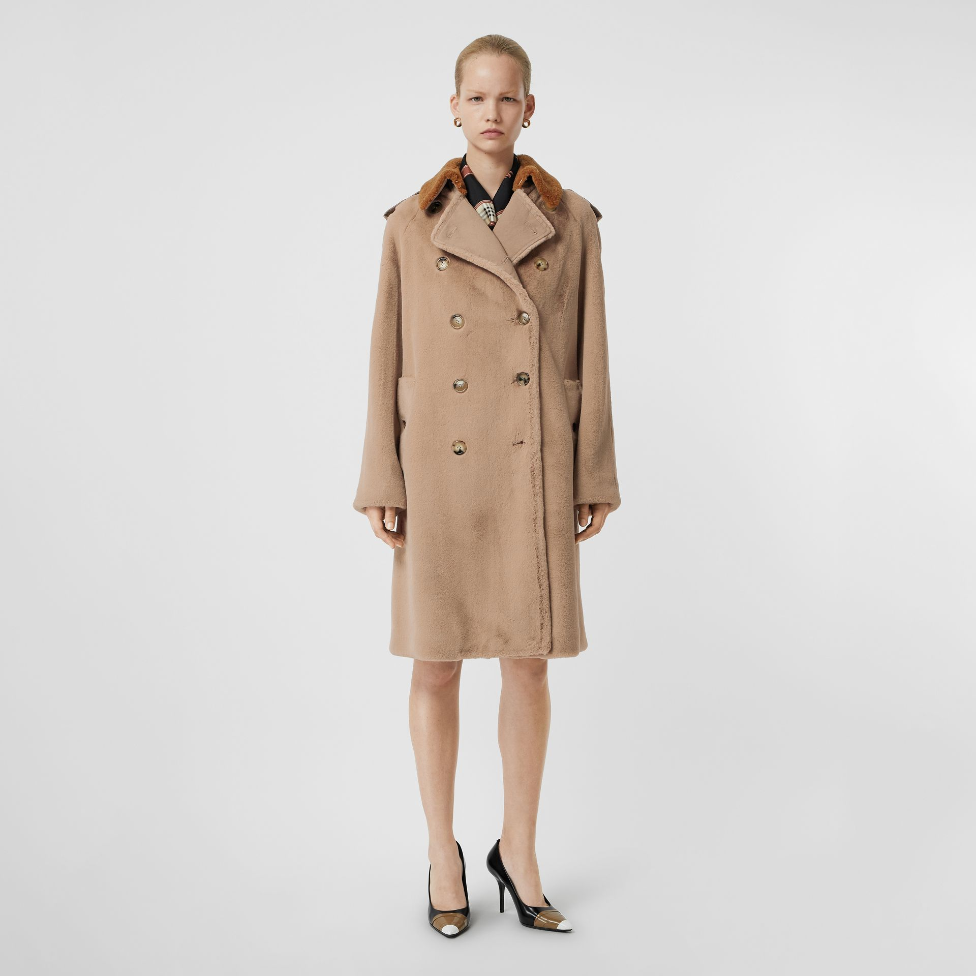 Shearling Trim Faux Fur Trench Coat in Taupe - Women | Burberry Australia - gallery image 0
