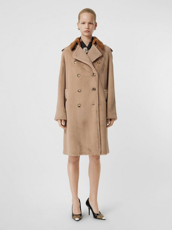 Shearling Trim Faux Fur Trench Coat in Taupe