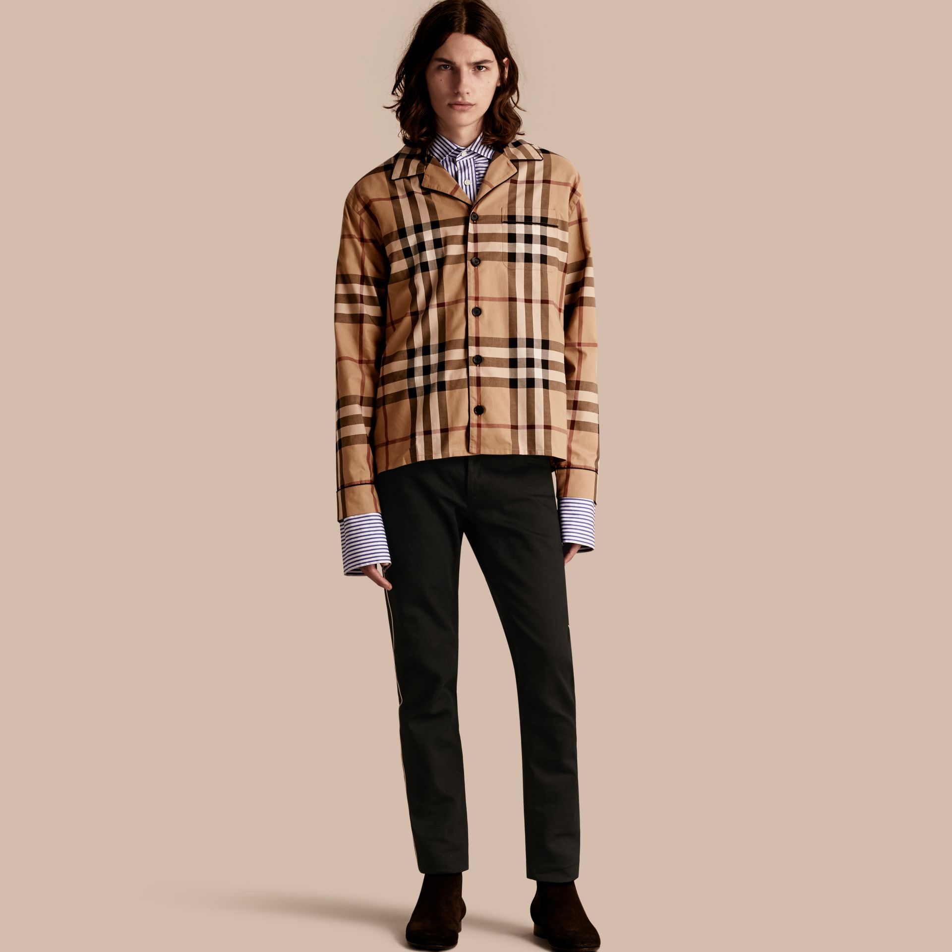 Camel Check Cotton Pyjama-style Shirt Camel - gallery image 1