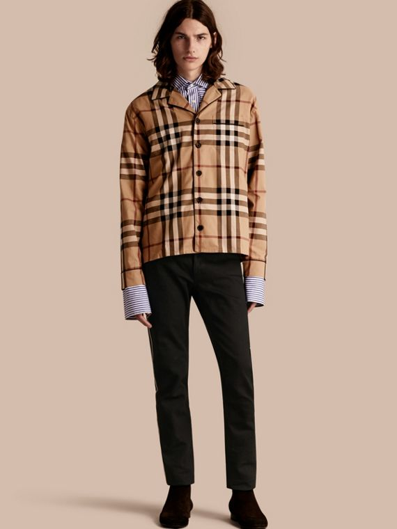 Check Cotton Pyjama-style Shirt in Camel