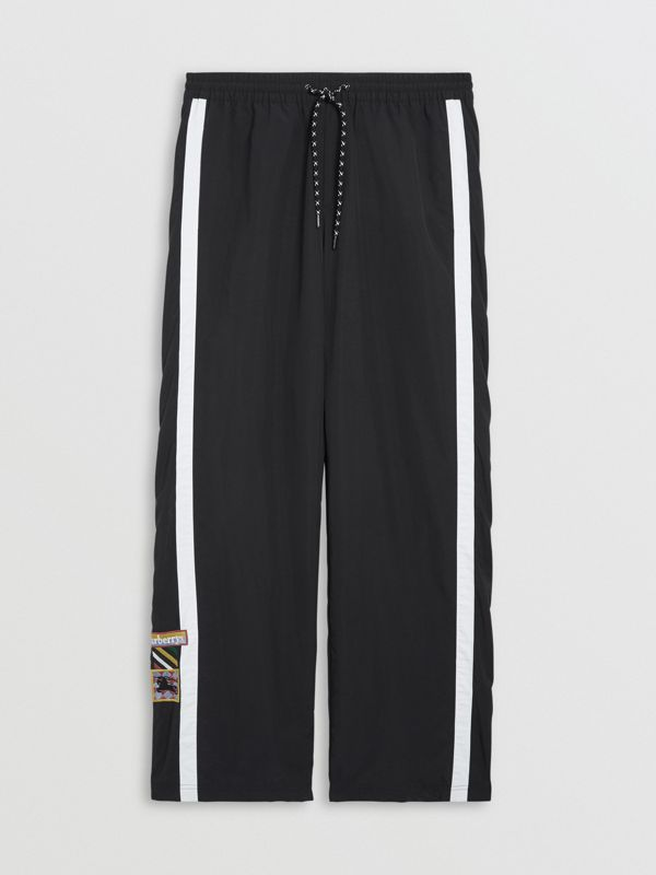 Sport Stripe Jersey Track Pants in Black - Men | Burberry - cell image 3